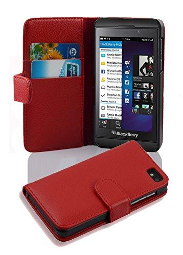 Cadorabo Hülle für BlackBerry Z10 - Hülle in Inferno ROT – Handyhülle mit Kartenfach aus struktriertem Kunstleder - Hülle Cover Schutzhülle Etui Tasche Book Klapp Style