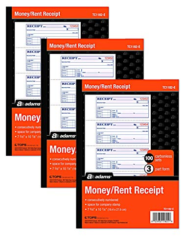 Adams Money and Rent Receipt Books New Color Cover, 3 Part Carbonless, 3 Pack, 7-5/8' x 10-7/8', Spiral Bound, 100 Set Book, 4 Receipts per Page reciept Book Booklet (TC1182 -E)