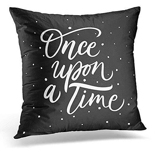 GFGKKGJFD42 Once Upon Time - Fundas de cojín con inscripción en inglés 'Once Upon Time', 45 x 45 cm, para decoración del hogar, fundas de almohada con cremallera para niñas adolescentes