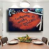 ZWWGZRSH Sin Marco Materiales de Cocina Gourmet Modernos, Especias de Sabor, póster de Lienzo Decorativo, Cuchara de Cocina, Restaurante Gourmet, 50x70 cm