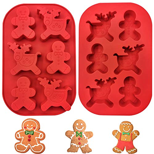 HisoKite 2 Pcs Deer Gingerbread Silicone Molds, Christmas Baking Chocolate Candy Cookie Cake Soap Mold Set
