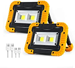 PILITO 2 COB 1500LM Rechargeable LED Work Light, Rechargeable Portable LED Floodlights for Outdoor SOS Camping Hiking Emergency Car Repairing and Job Site Lighting (2 Pack)