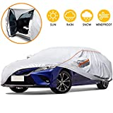 Tchipie 180'-191' Car Cover for Automobiles All Weather Waterproof, Anti-Scratch Outdoor Sedan SUV Covers with Zipper Door and Reflective Strips, Adjustable Straps for Windproof