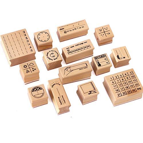 14-teiliges Stempelset aus Holz mit Gummi-Stempeln für Bastelarbeiten, Tagebuch, Kartenherstellung, Scrapbooking.
