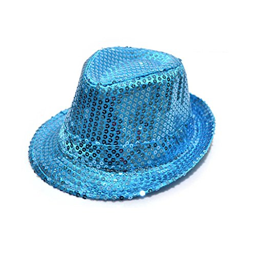 Fashion chapeau panama avec paillettes d'enfants pour la fête(Light Blue)