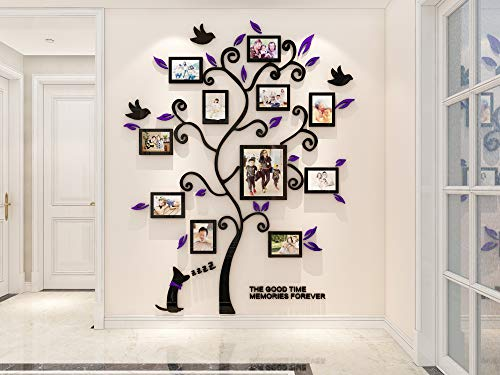 KINBEDY 3D Acrylic Wall Stickers Photo Frames FamilyTree Wall Decal Easy to Install &Apply DIY Photo Gallery Frame Decor Sticker Home Art Decor, Purple Leaves with Dog.