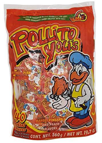 Yolis Pollito Chili infused LolliPops 40 pieces (520 grams/ 18.34oz) original Intense hot Flavored rebanaditas super spicy intense tasty mexican candy snacks mango peach pineapple con chile paletas
