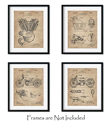 "Harley Davidson Patent Art Prints (8""x10"") Set of 4 - Wall Decor - Great Gift for Bikers"