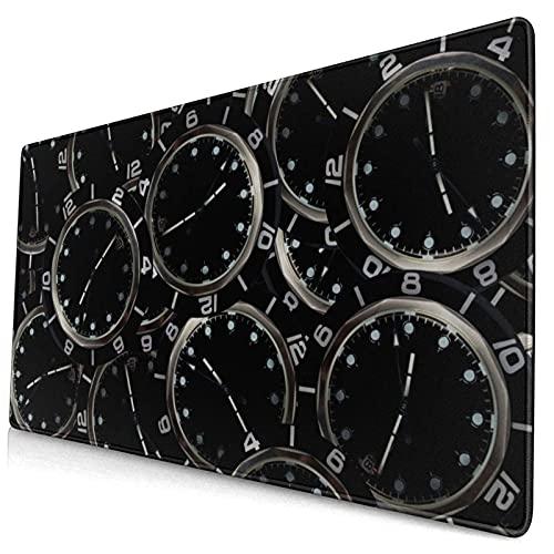 Vintage Uhr Uhr Großes Mauspad für Computerspieler Rechteck Anti-Rutsch-Gummi-Elektronik Sport übergroß für Game-Spieler Büroarbeitszimmer