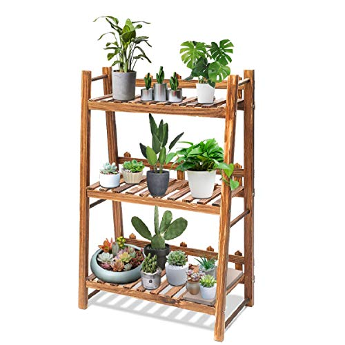 """TOOCA Plant Stand Wood Indoor, 3-Tier, Steady Vertical Non-Slipage Tiered Plant Ladder Outdoor, Plant Shelf, Carbonized (24"""" x 12"""" x 35"""")"""