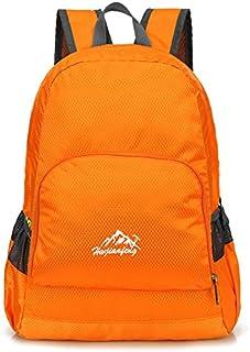 Prettyia Unisex Lightweight Folding Backpack Rucksack School Beach Travel Bag Orange