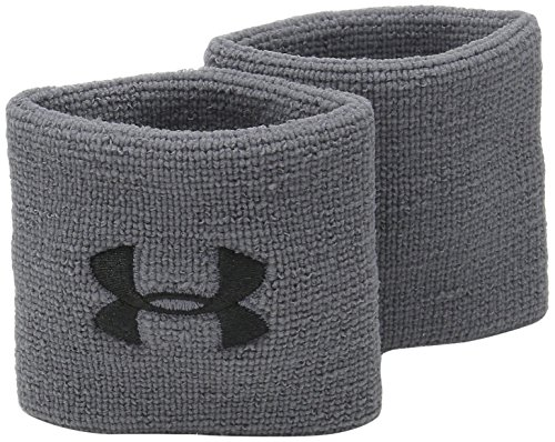 Under Armour Men's 3-inch Performance Wristband 2-Pack , Graphite (040)/Black , One Size Fits All