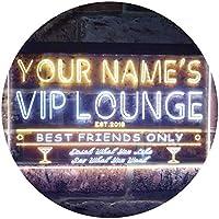 Personalized Your Name Est Year Theme VIP Lounge Bar Club Pub Dual Color LED看板 ネオンプレート サイン 標識 白色 + 黄色 300 x 210mm st6s32-qi1-tm-wy