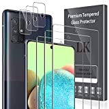 LK [6 Pack] Compatible con Samsung Galaxy A71 Protector de Pantalla,3 Pack Cristal Templado y 3 Pack Protector de Lente de cámara, Doble protección, Kit de Instalación Incluido