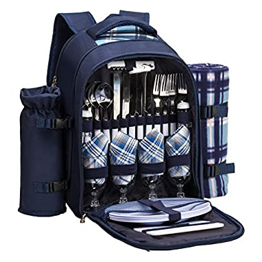 TAWA 4 Person Picnic Backpack with Cooler Compartment,Detachable Bottle/Wine Holder Including A Large Picnic Blanket(45 x 53 ) for Family and Lovers gifts,Outdoor,BBQ Time (Blue)