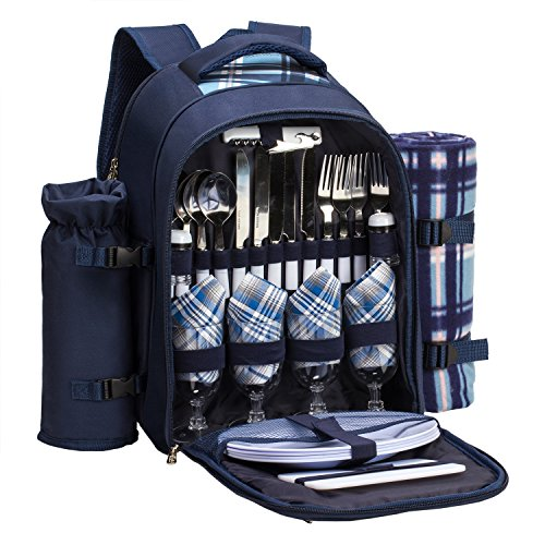 """apollo walker Picnic Backpack Set for 4 with Cooler Compartment,Detachable Bottle/Wine Holder Including Large Picnic Blanket(45""""x 53"""") for Picnic Family and Lovers Gifts,Outdoor,BBQ Time (Bl..."""