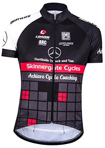 Santini Replica Achieve Team - Maillot de Ciclismo para Hombre, Color Negro/Rojo,...