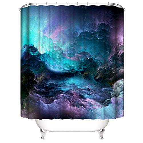 LLLTONG Duschvorhang Mehltau Kirschblüte Kirsche Duschvorhang, waschbarer dekorativer Duschvorhang, wasserdichtes Badewannenzubehör Sternenhimmel