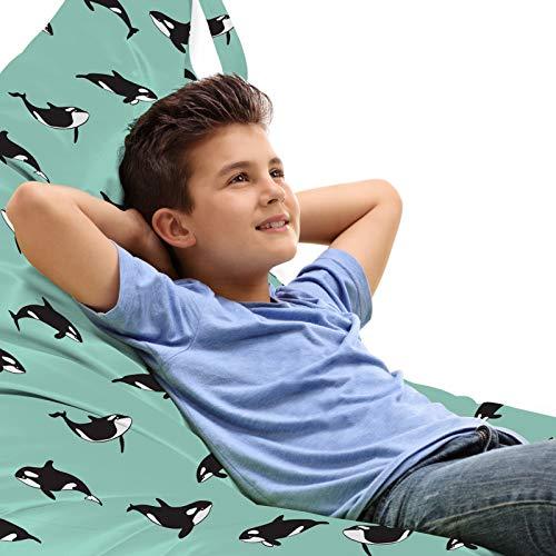 ABAKUHAUS Orka Zitzak, Onregelmatig Geregeld Zoogdieren, Veel Ruimte om Zacht Speelgoed als Knuffels in op te Bergen, met Handvat, Turquoise Charcoal Grey