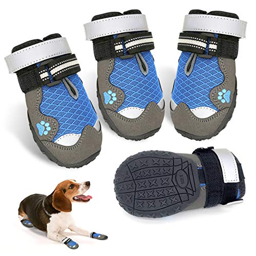 Dog Boots, Breathable Dog Shoes with Adjustable and Reflective Straps Rugged Anti-Slip Sole Mesh Dog Booties for Small Medium Large Dogs 4PCS