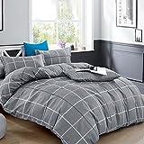 Bettwäsche 135x200 Baumwolle Grau Einfaches und Modisches Quadratisches Gittermuster Wendebettwäsche mit Reisverschluss (135x200cm+80x80cm 2tlg)