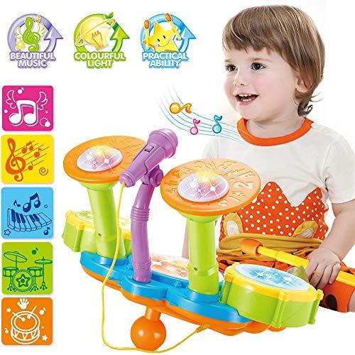 deAO Beginners Muzikale Tafel Drumstel Speelset met drumstokken, microfoon, lichtfuncties, interactieve muziek en geluiden voor baby's, kinderen en peuters