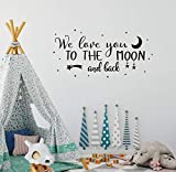 Wall Decal Kids We Love You to The Moon and Back Quote Wall Decals Nursery Vinyl Wall Stickers for Baby Boys and Grils Bedroom Scandinavian Wall Decal (Y29) (Black)
