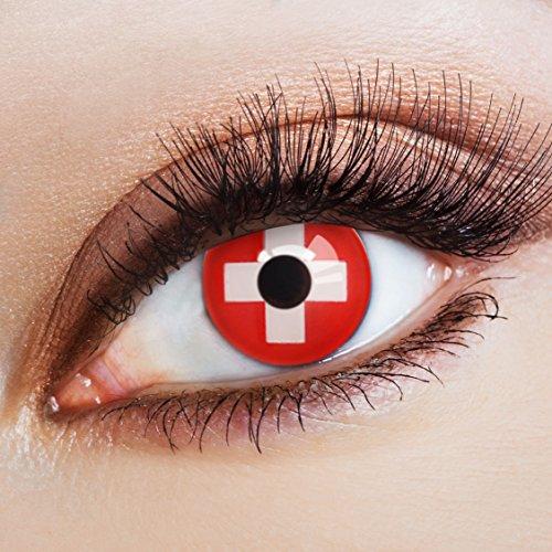 aricona Kontaktlinsen Farbige Kontaktlinse Flagge Schweiz   – Deckende Jahreslinsen für dunkle und helle Augenfarben ohne Stärke, Farblinsen für Karneval, Fasching, Motto-Partys und Halloween Kostüme