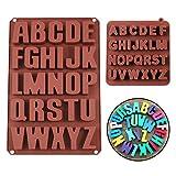 LAOZHOU 26 Englische Buchstaben Silikonform, Enthält große kleine Schokoladenform, DIY Basteln...