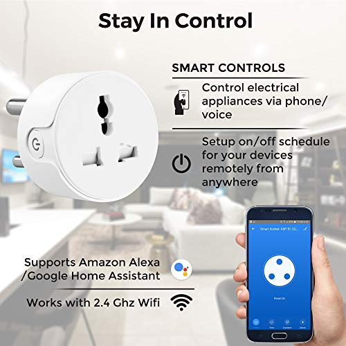 Ambrane WiFi Smart Plug 10A - Control Your Devices from Anywhere, No Hub Required, Compatible with Alexa and Google Assistant (ASP-10, White)