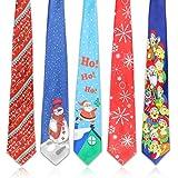 Qpout 5Pack Einmalige Weihnachtskrawatte Weihnachten Krawatte Festival Weihnachten Dekoration Krawatte Saison Party Krawatte- Schneeflocke...