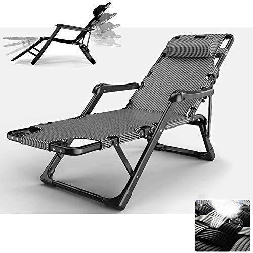 TopJiä Adjustable Lounge Chairs for Outside Grey,Business Men Lounge Zero Gravity Chair,Patio Beach Folding Aluminum Chair A Chair