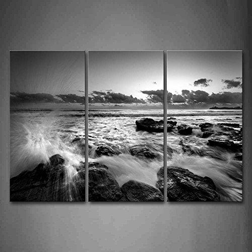 First Wall Art - Schwarz Weiß Leinwand Bilder Wellen Krachen Gegen die Steine Wandbild Poster 3 Panel Modern Seestücke Dekorationen Für das Wohnzimmer,Büro,Küche,Badezimmer,Schlafzimmer