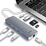 EKSA USB C Hub 8 in 1 Multiports, Aluminium USB C Adapter mit Gigabit Ethernet Adapter / 4K HDMI...