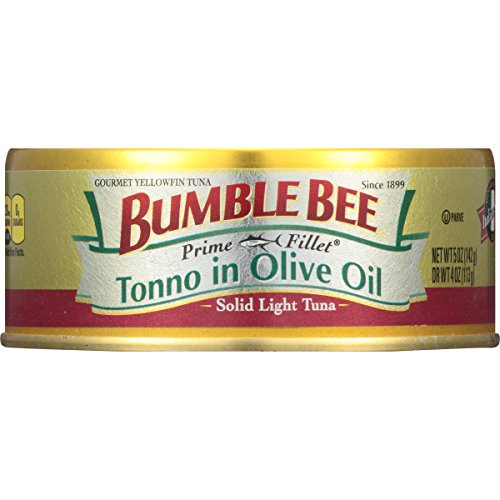 BUMBLE BEE PRIME FILLET Tonno in Olive Oil, Canned Tuna in Olive Oil, Gluten Free Food, High Protein Snacks, Bulk Snacks, 5 Ounce Can (Pack of 12)