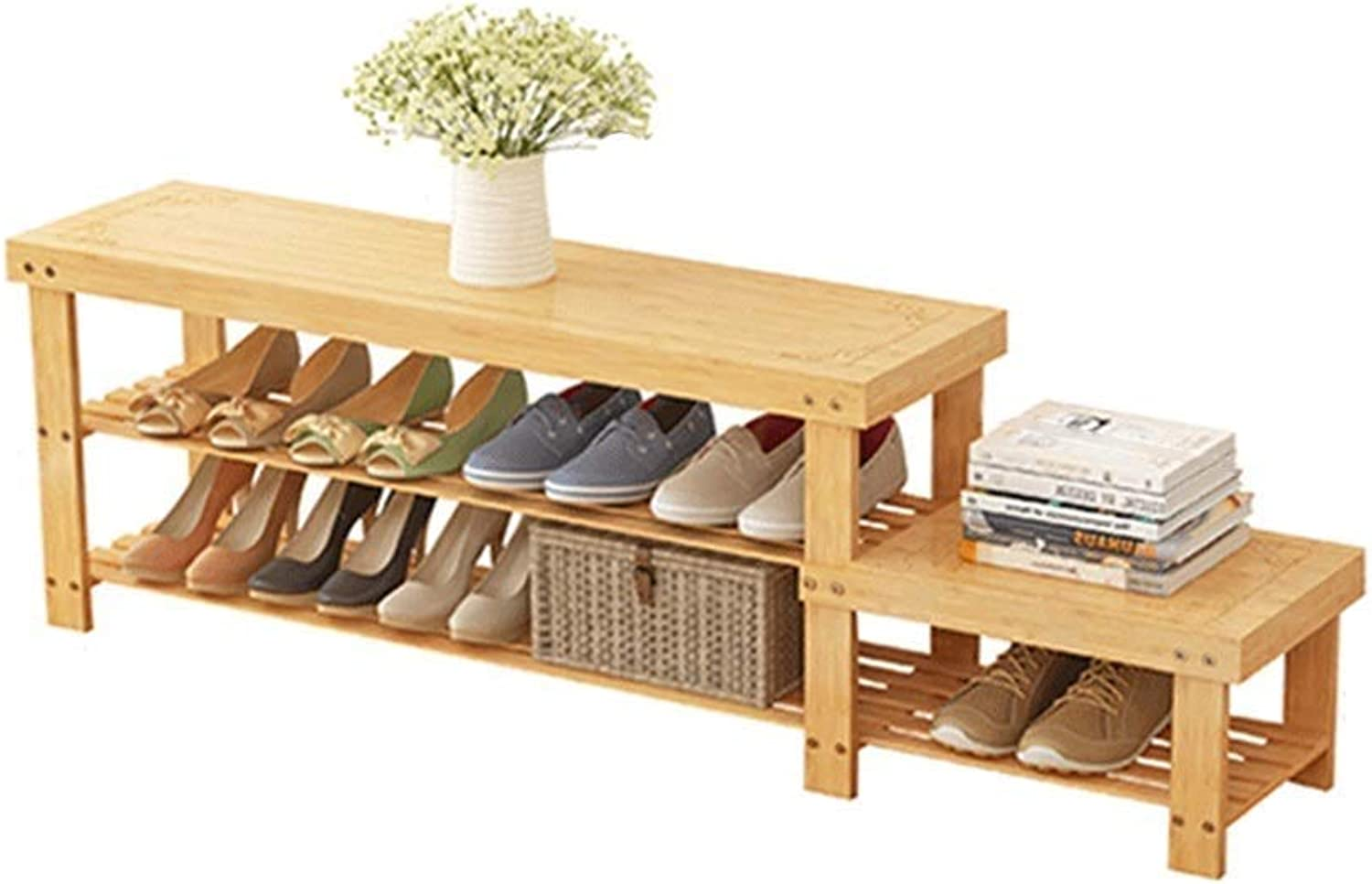 2-Story shoes Bench Living Room Bedroom Bamboo shoes Rack Corridor Bench (Size   128  28  45cm)