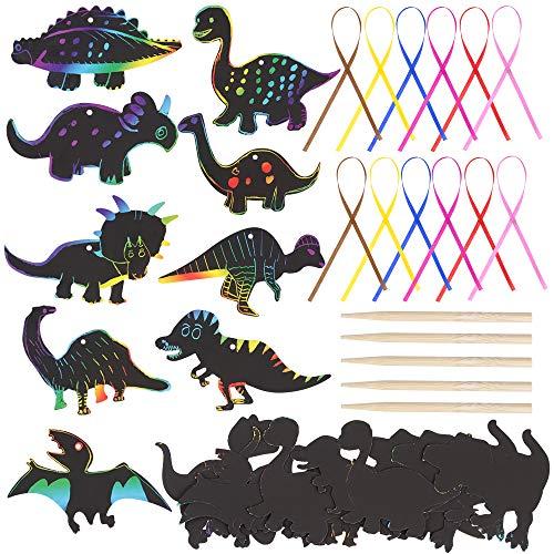 GOLDGE 41PCS Kratzbilder Set Kratzbild Dinosaurier Kinder Bastelset Mitgebsel mit Seile Holzstiften