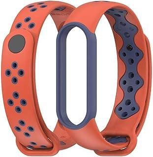 MEEFIX Wrist Strap TPU Bracelet Sport Loop Replacement Wristband for Xiaomi Mi Band 5 (Orange-blue)