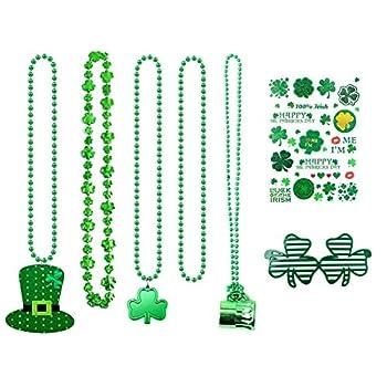 St Patrick's Day Necklace Set Irish Shamrock Necklace Green Hat Necklace Green Beads Necklace Beer Mug Necklace Shamrock Glasses and Temporary Stickers for St Patrick's Party Favors