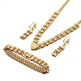 Dubai Bracelet Necklace Earring Double Heart...