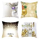 Iusun 4PC Merry Christmas Pillow Covers Short Plush 18'' Square Light Color Waist Throw Pillowcase Winter Autumn Season Decor Sofa Pad Set Home Decorative Cushion Covers (C)