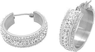 Bevilles Stainless Steel Crystal Hoop Earrings