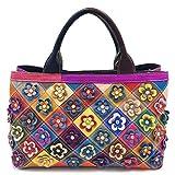 Eysee Real Leather Women Shoulder Bag Handbag Colourful Bag Multicolour Flower top-Handle