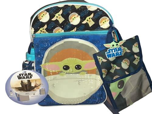 Mandalorian Baby Yoda 5 Piece Backpack Star Wars Snack Tote, Carabiner, Water Bottle, Rubber Dangle