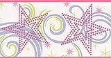 York Wallcoverings Red Polka Dot Stars Purple Yellow Swirls White Abstract Wallpaper Border Retro Design, Roll 15' x 7'