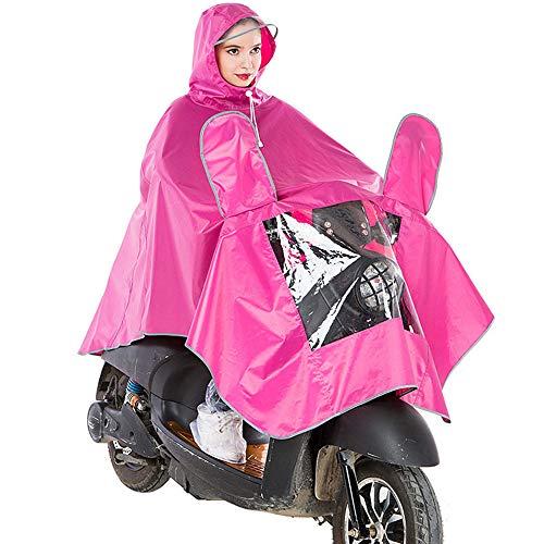 Regenponcho Für Erwachsene Voller Schutz Doppelhut Regenmantel Wiederverwendbare Oxford Regenfeste Windjacke Atmungsaktive Spiegelabdeckung Umhang Für Motorroller, Elektrorollstuhl, Fahrrad,Rosa