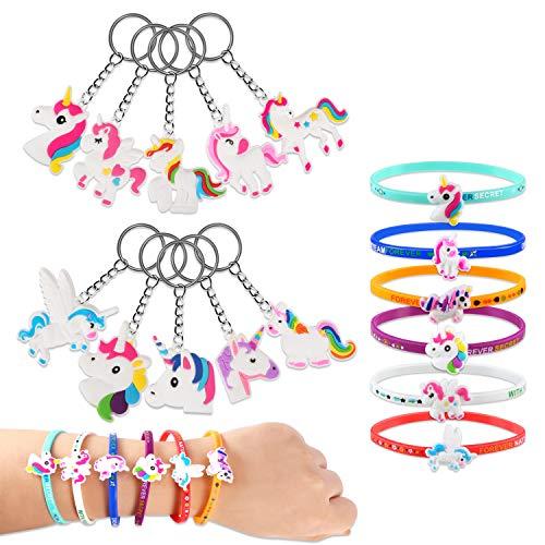 PAMIYO 10pcs Porte-clés avec 6pcs Bracelet en Caoutchouc, Kit Porte Clé Élégant et Mode Cadeau Jouet pour Les Filles et Enfants
