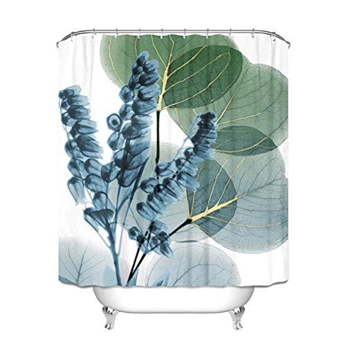 Badkamer Gordijnen De Bloemen Douchegordijn Waterproof Schimmelbestendig Polyester Badkamer Setswith 12 Hooks,Green,180 * 180cm