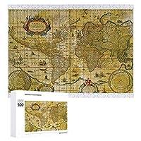 INOV ヴィンテージ 世界地図 ジグソーパズル 木製パズル 500ピース キッズ 学習 認知 玩具 大人 ブレインティー 知育 puzzle (38 x 52 cm)