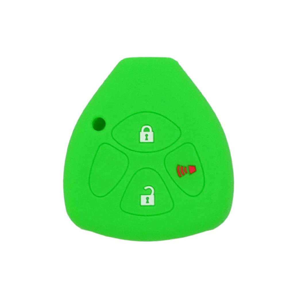 SEGADEN Silicone Cover Protector Case Skin Jacket fit for TOYOTA 3 Button Remote Key Fob CV4421 Light Green